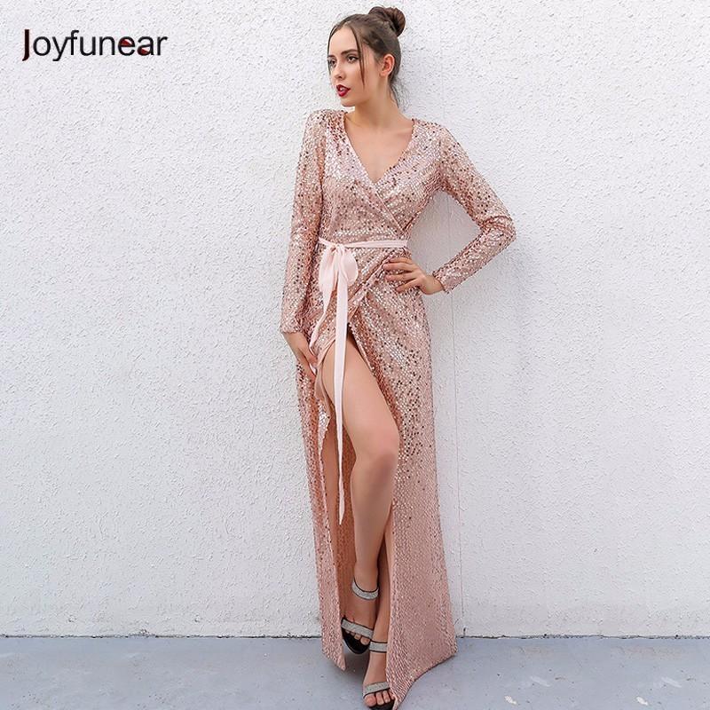 66f4095c73d8f Joyfunear Sexy Club Wear Party Dress Womens Pink Gold Knot Deep V Шея Twist  Front High Slit с длинным рукавом Sequin Maxi Dress