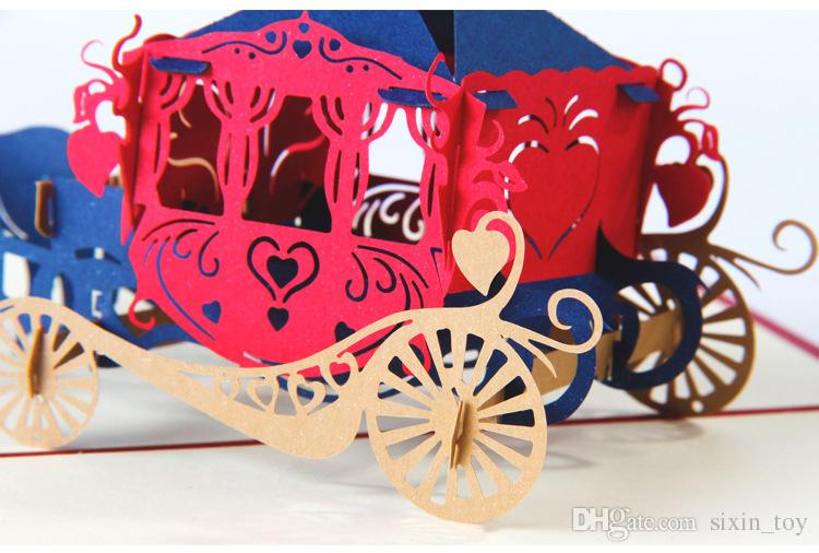 New Arrival 3D Pop Up Paper Kirigami Wedding Invitations Love Carriage Postcards Wishes Gifts Creative Handmade Laser Cut Greeting Cards