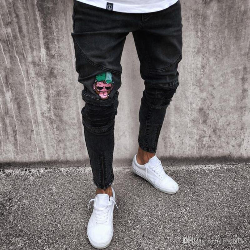 Europe and America Men Skinny Jeans Casual Rip Slim Fit Stretch Denim Jeans Mokey Hip Hop Distress Frayed Biker Jeans