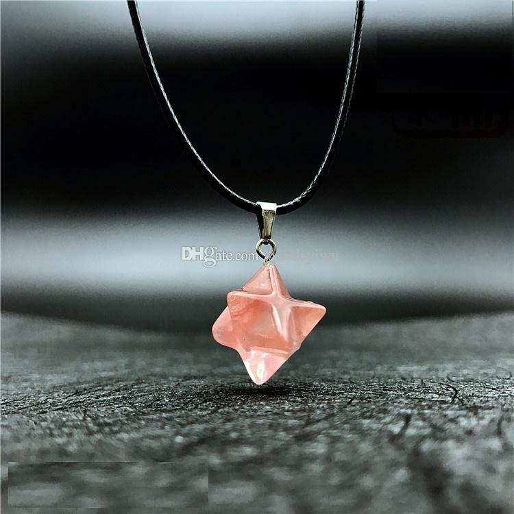 3D Piedra Natural Merkabah Estrella Colgante Collar Ópalo Rosa Cristal Lázuli Polihédricos Reiki Encantos Cadena de cuero de acero inoxidable Joyería