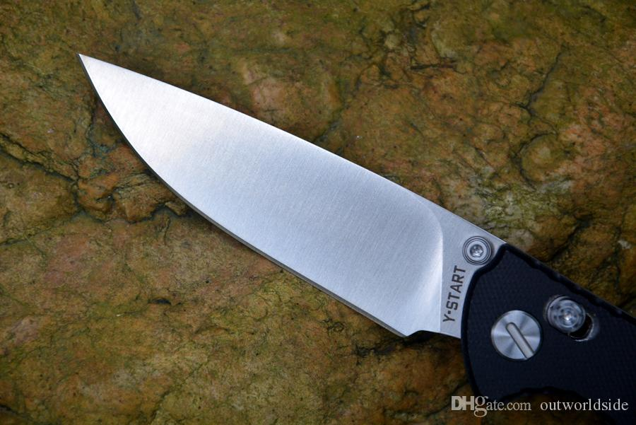 Y-START JIN02 Cuchillos plegables bloqueo axial D2 arandela del cojinete de bolas de la lámina de satén G10 mango cuchillo de caza al aire libre que acampa cuchillo de bolsillo herramientas EDC