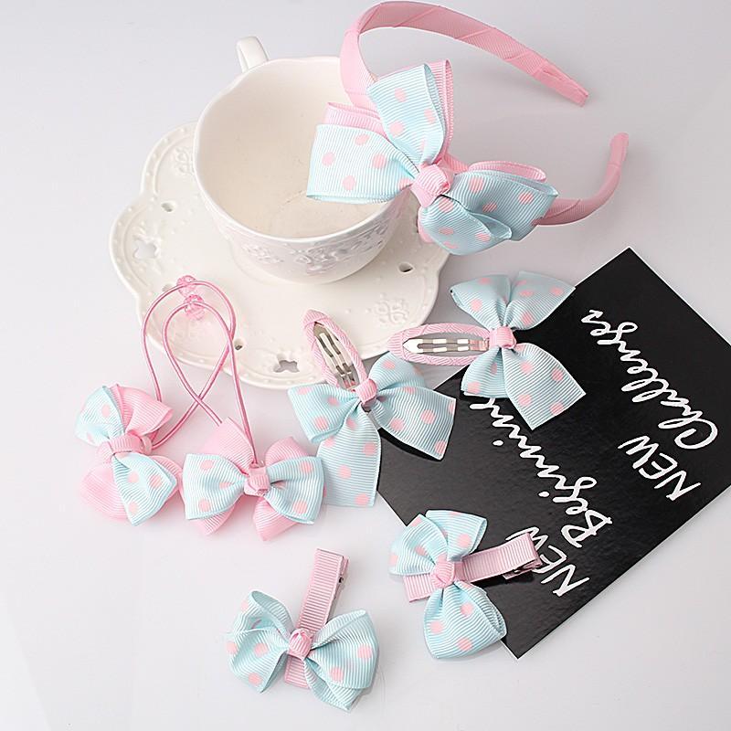MISM 2017 1 компл.=7 шт. дети симпатичные Dot галстук-бабочка форма Шпилька ручной префект зажим для волос подарочный набор Луки аксессуары для волос Роман Hairgrip