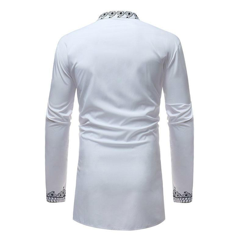 3e96d0490cc3d1 2019 Men S African Printed White Dashiki Shirt 2018 Brand New Slim Fit Mandarin  Collar Dress Mens Shirts Casual Men Long Sleeve African Clothing From ...
