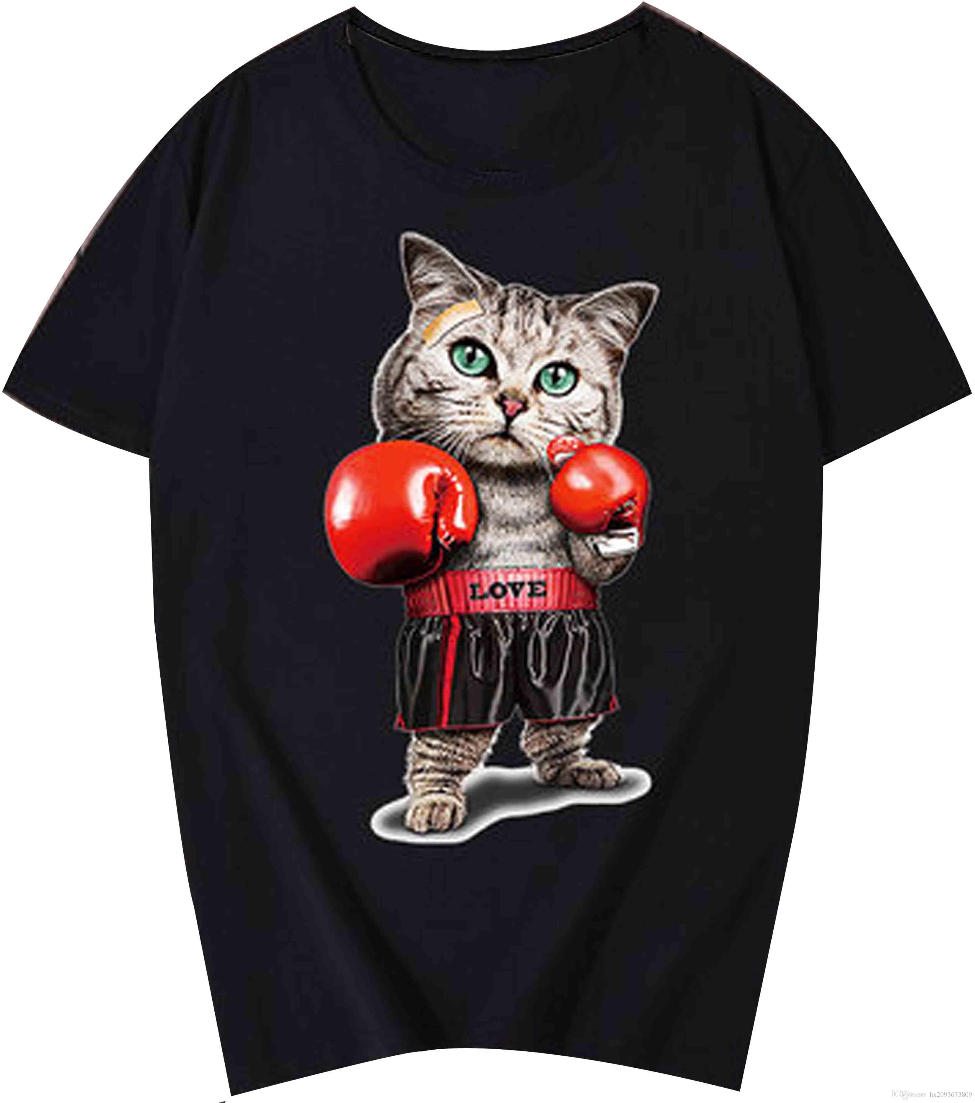 c65033e7 Violent boxing cat funny t shirt Men's T-Shirt Top Style Round Style tshirt  Tees Custom Jersey t shirt