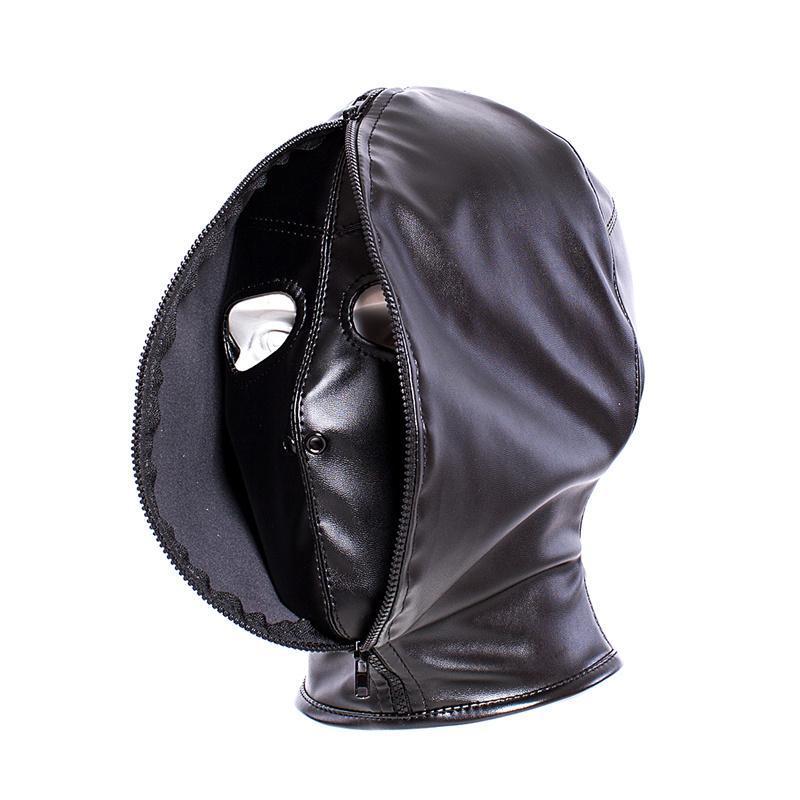 Unisex Deri Seks Esaret Fermuarlı Çift Katmanlı Kafa Esaret Şeytan Hood Açık Ağız Gözler ile Maske Cosplay Cadılar Bayramı Kostüm