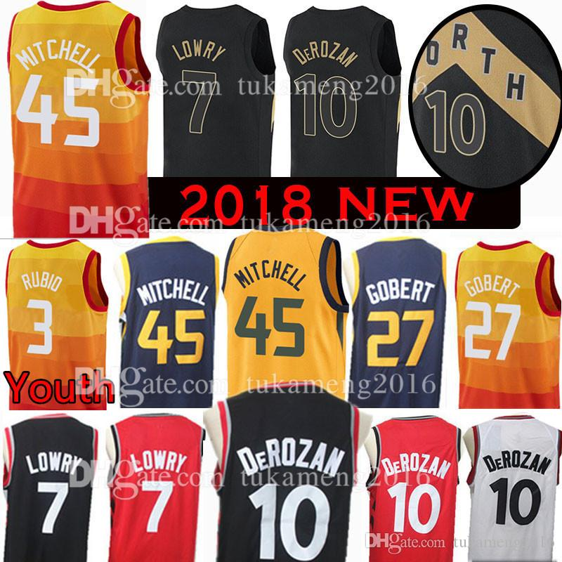 2018 New Youth Mens 45 Donovan Mitchell 10 Demar DeRozan 3 Ricky Rubio Jersey 27 Rudy Gobert 7 Kyle Lowry 2 Joe Ingles Basketball Jerseys