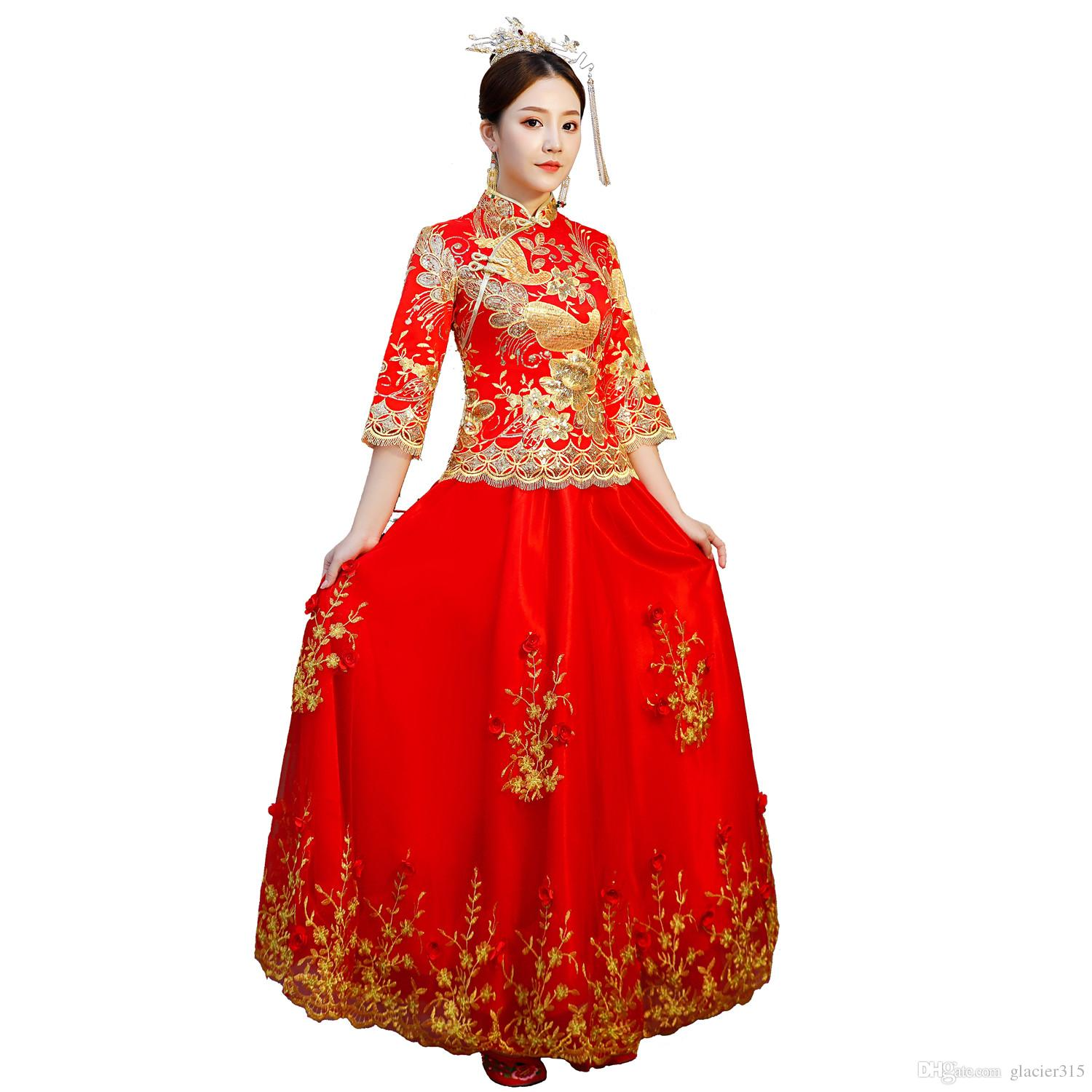 938a97323 Shanghai Story 2018 XiuHe Bridal Gown Clothes Chinese Red Dress Traditional  Chinese Clothing For Women Oriental Style Dress Semi Formal Dresses  Sundress ...