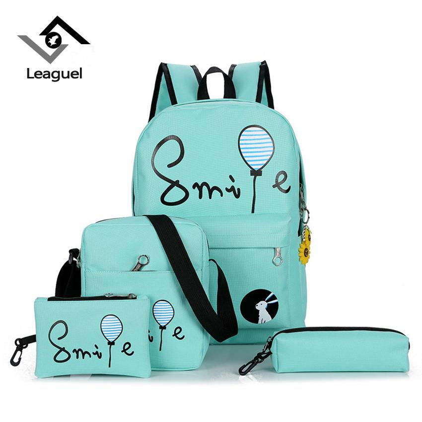 Leaguel Canvas Women Backpacks Schoolbag Printing Letter Cut Bag ... f196657e3aaaa