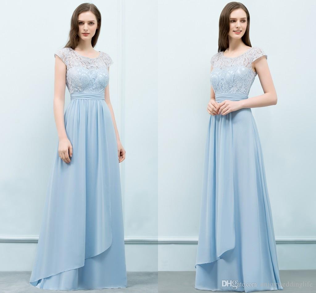 Light Sky Blue A Line Chiffon Long Bridesmaid Dresses Jewel Neck Lace Cap Sleeves  Maid Of Honor Gowns Floor Length Wedding Party Wear Black Junior ... 8d6c005f6896