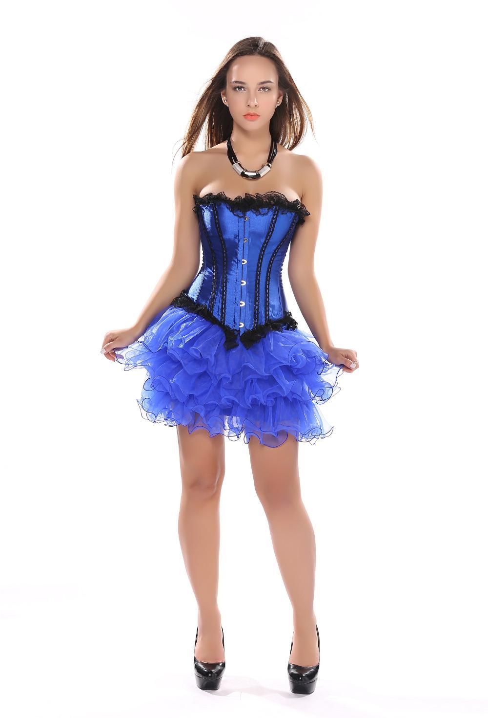 sext party club corset blue lace up boned lingerie and black lace tutu skirt showgirl dance dress body shaper bustier S-2XL