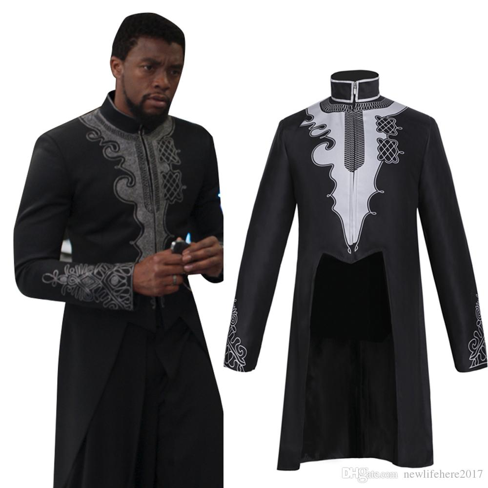 34bebaa38 Black Panther Costume Marvel Tailcoat Men Halloween Cosplay T Challa DC  Cosplay Wakanda King Anime Movie Jacket Pirate Costumes Clown Costumes From  ...