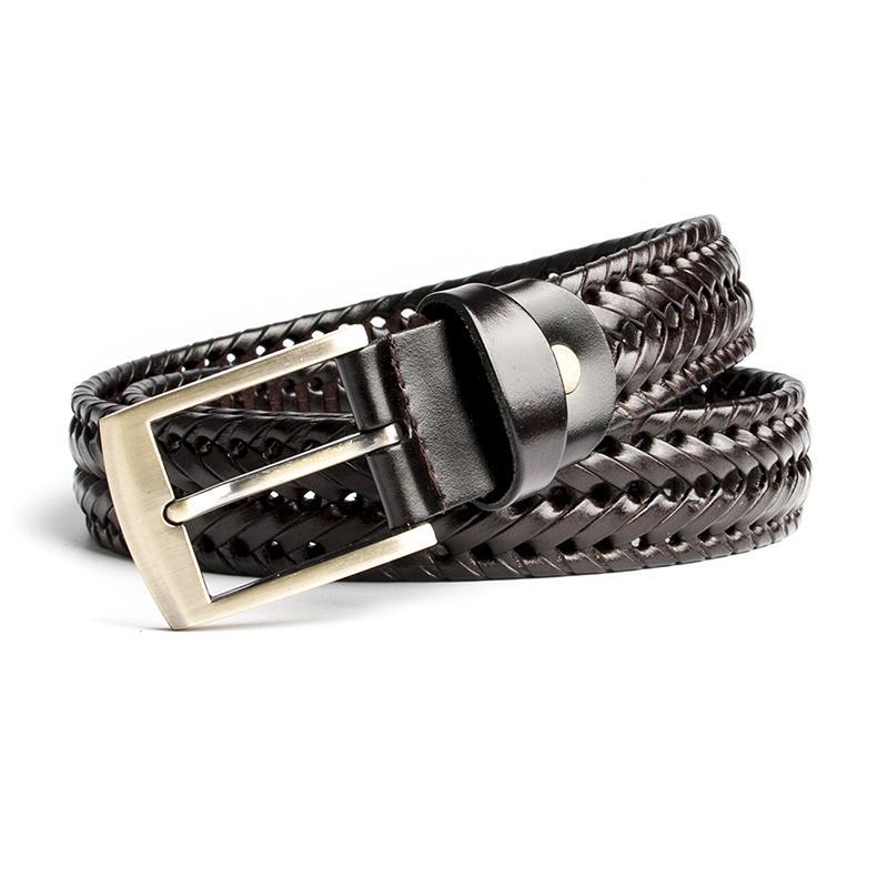 ECHAIN Weaving Vintage Luxury Designer Belts Men High Quality Braided Genuine Real Leather Wedding Waist Strap for Jeans