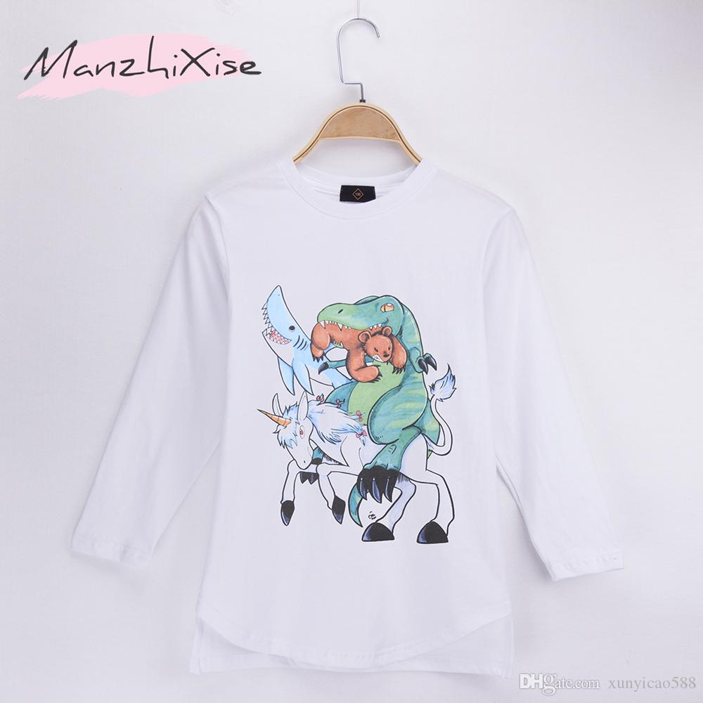 2018 New Children T-shirts Unicorn And Dinosaurs Bear Shark Design Animals Cotton Long Child Shirt Boy T Shirt Baby Clothing Girl Tops Tees
