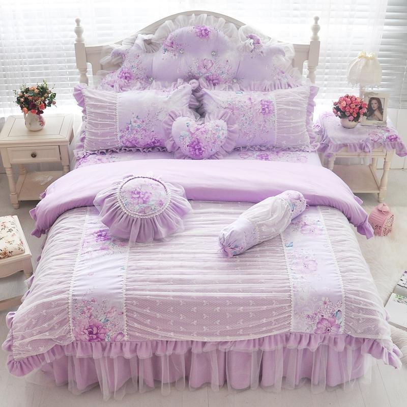 04025a341575dc Rose bleu violet coton dentelle ensemble de literie twin full queen roi  taille filles enfants double lit simple jupe housse de couette cadeau