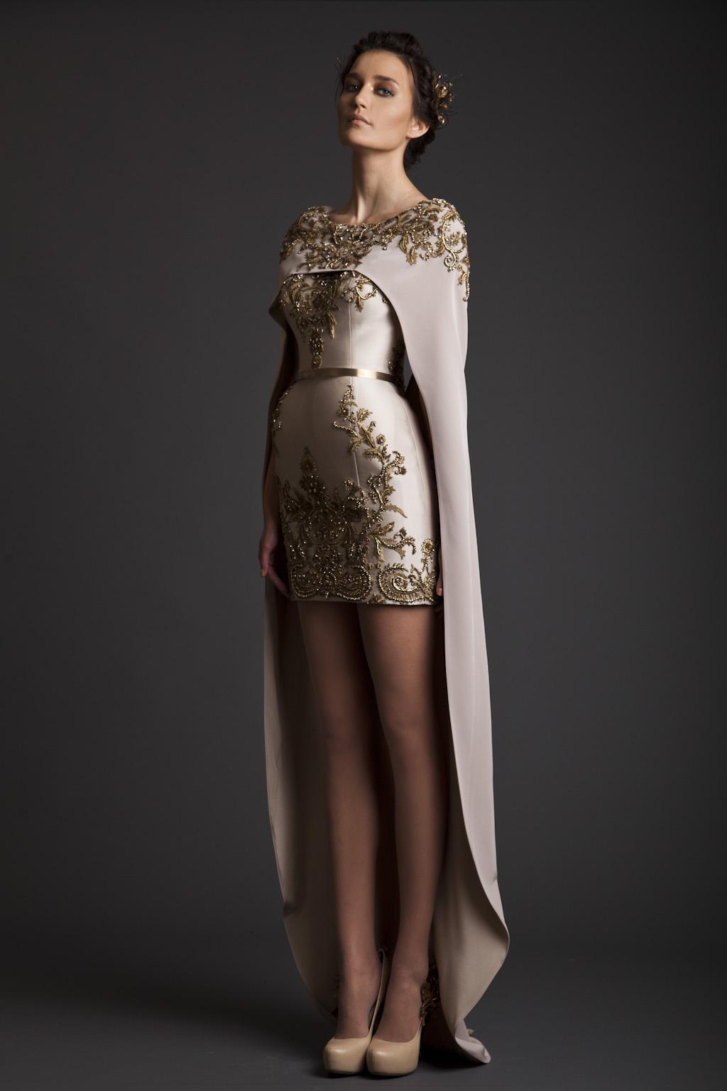 2019 Nueva Vintage Krikor Jabotian vestidos de noche vaina larga separada del cabo bordado satinado corto Champagne vestidos de baile