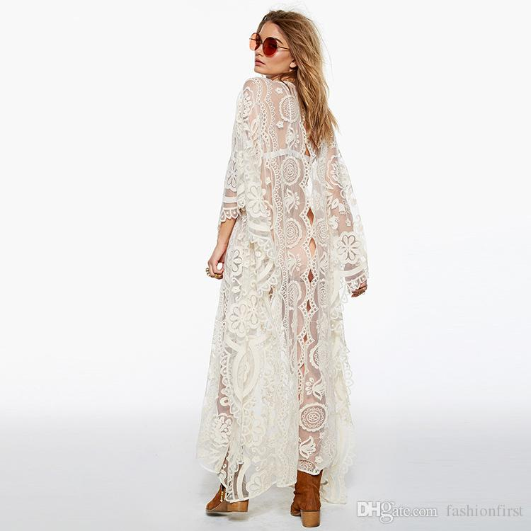 b6f66e5d29 Free shipping Hot Sales Summer Floral Lace Embroidered Crochet Vestidos  Lace Batwing Sleeve Boho White Beach Bohemian Lace Kaftan dress