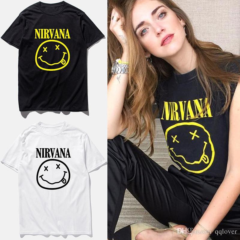 5f5dba86 Wholesale 2018 New Brand Nirvana Music Rock T Shirt Smile Face Funny T Shirt  Top Man Tee Casual T Shirt Short Sleeve Hiphop Top T Shirts 1 T Shirt T  Shirt ...