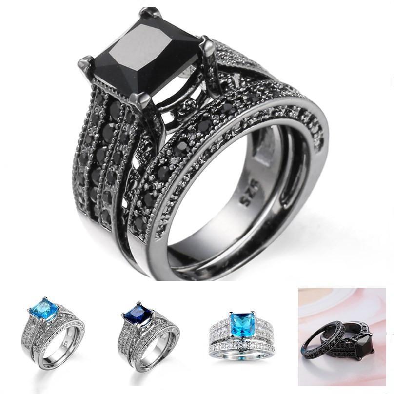 Grosshandel Schwarzer Diamant Aquamarin Verlobungsringe Vintage