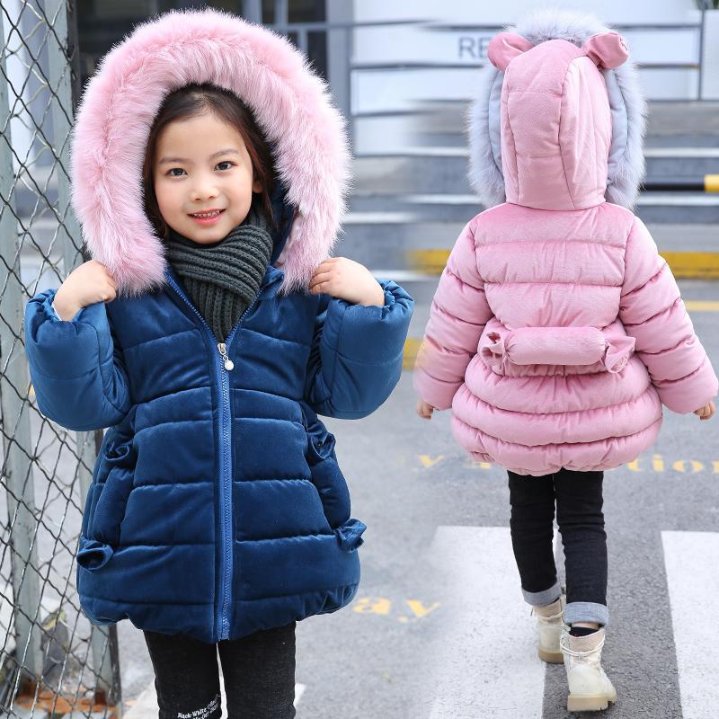 2018 Kaninchen Ohr Winter Jacken für Mädchen Kleidung Kinder Kleidung dicken Pelzkragen Kapuzenmantel Mädchen Winter Mäntel und Jacken