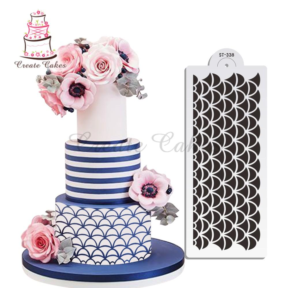 2018 Fish Scales Decoration Stencil For Celebration Cake Design Lace Mold Plastic Template Decorating Tools From Bright689 228
