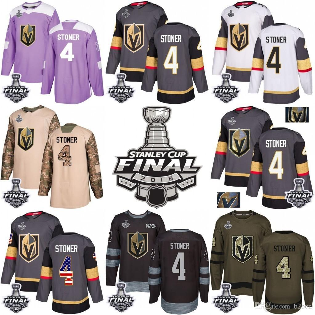 1354a5eab5c 2019 2018 Stanley Cup 4 Clayton Stoner Vegas Golden Knights Green Gray USA  Flag Fashion Purple Fights Cancer Practice Gold Hockey Jerseys From B2bcn