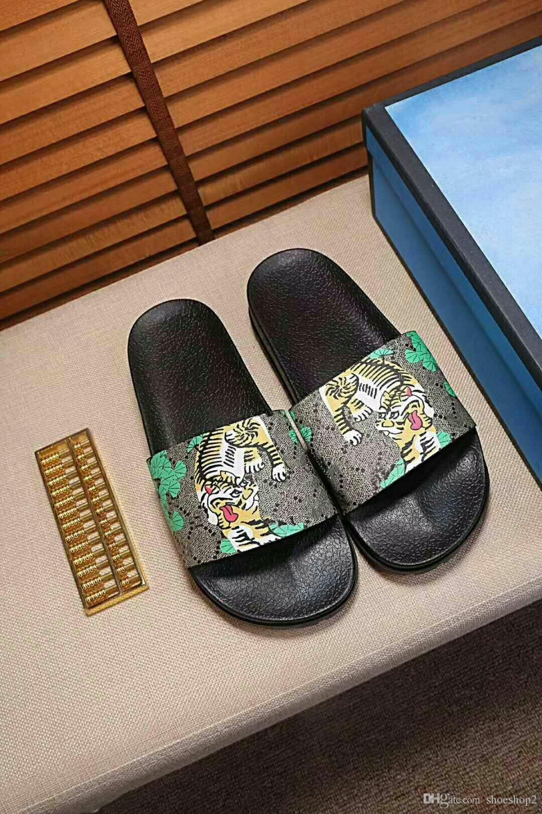 c0fd7050f5221e Fashion Leather Slide Sandals Slippers Men Women 2018 Hot Tiger Designer  Flower Printed Unisex Beach Flip Flops Slipper BEST QUALITY 38 46.