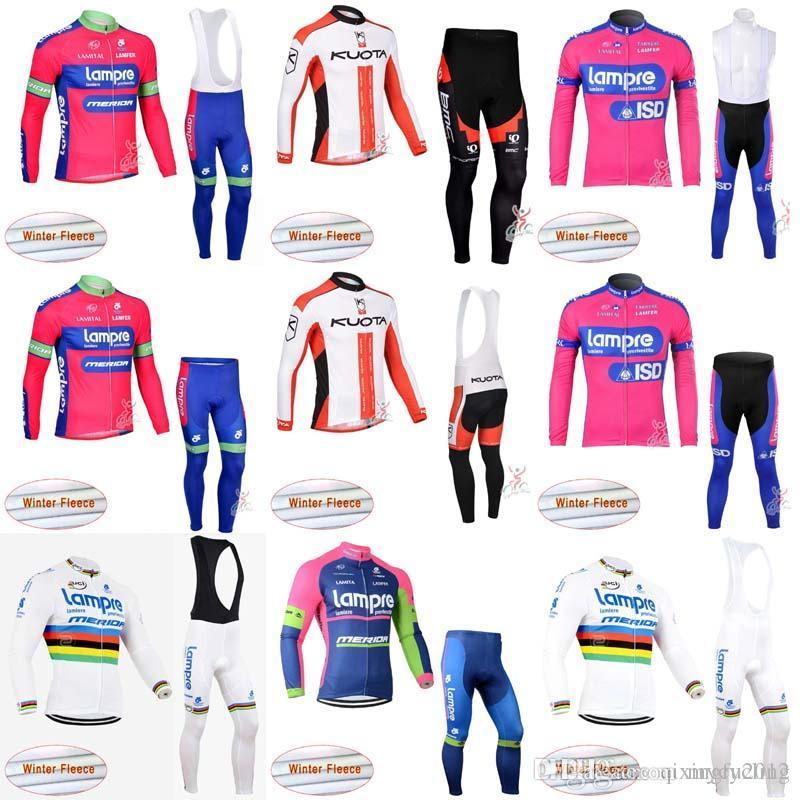 2018 Team Lampre Kuota Merida Long Sleeve Cycle Jersey Winter Thermal  Fleece Cycling Clothing Bike Bib Pants Sets C1017 Cycle Wear Cycling  Clothing Uk From ... 08fa059ea
