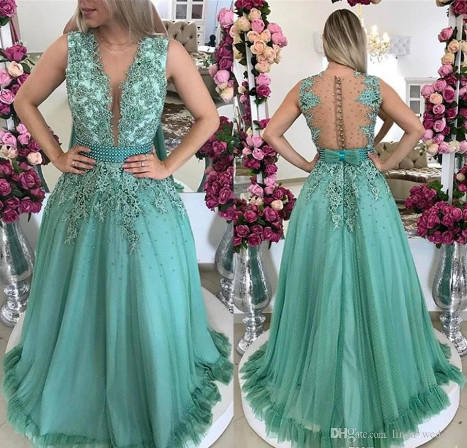 2018 Hunter Green Prom Dress New Arrival A Line Jewel Neck Long ...