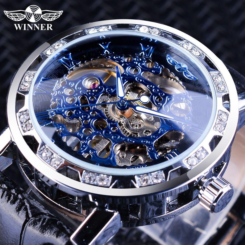 7492bed768f Compre Vencedor 2018 Moda Diamante Design Azul Mãos Relógios Mecânicos Dos Homens  Luminosos Top Marca De Luxo Esqueleto Relógio Masculino De Thang2016