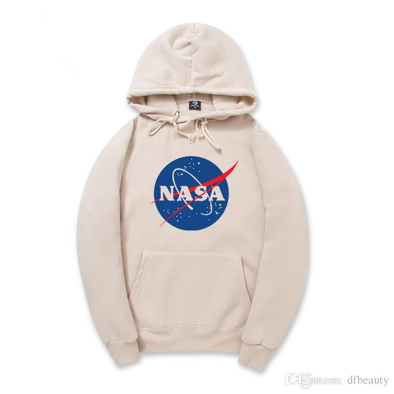 Atacado Outono inverno NASA Hoodies Cinza Preto Cáqui Homens Mulheres Pulôver de Algodão Com Capuz Hip Hop Com Capuz Hoodies Dos Homens Moletons Maré Marca