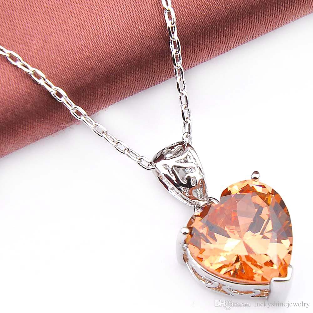 Luckyshine Excellente Brillance Coeur Feu Suisse Morganite Péridot Cubique Zircone Gemstone Argent Pendentifs Colliers pour les Vacances Weddin