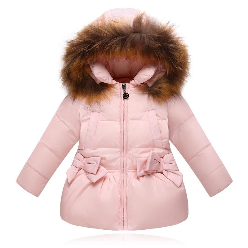 492080836 Winter Down Jacket For Girls Kids Clothes Children Thicken Coats Duck Down Jackets  Girls Hooded Bow Snowsuits Natural Fur Coat