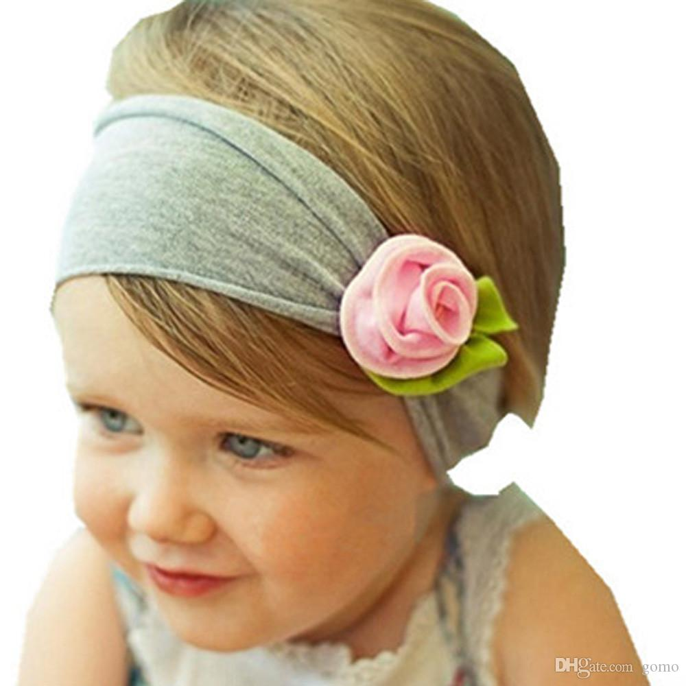 2017 Lovely Baby Kids Girls Infant Toddler Headband Bow big rose Flower Hair Band Headwear baby headband Girls photography wear