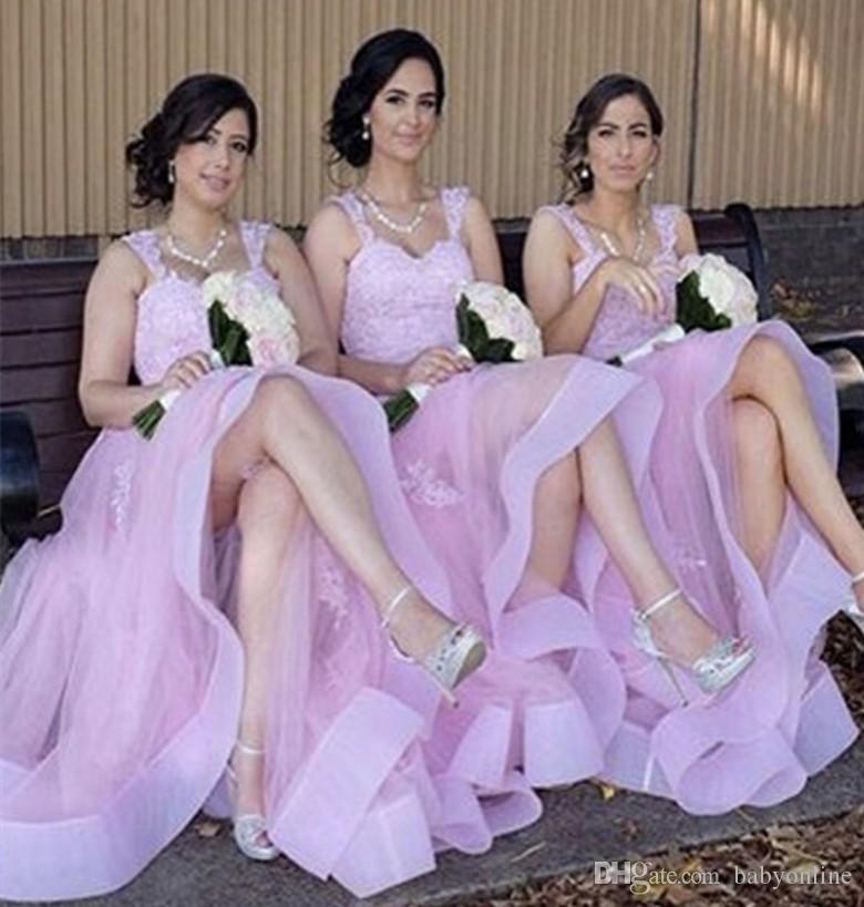 Beautiful Peach Pink A Line Bridesmaid Dresses 2018 Elegant ...