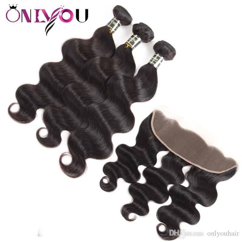Brasileira Feixes de Cabelo Humano Virgem Peruano com Fechamento Barato Extensões de Cabelo Profunda Onda de Água Do Corpo Kinky Curly Lace Cabelo Frontal feixes