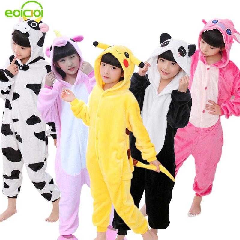 163572a413 Compre EOICIOI 2018 Nueva Franela Bebé Niños Niñas Pijamas Animal Unicornio  Puntada Dinosaurio Panda Pijamas Niños Ropa De Dormir Cosplay Onesie  Y18102908 A ...