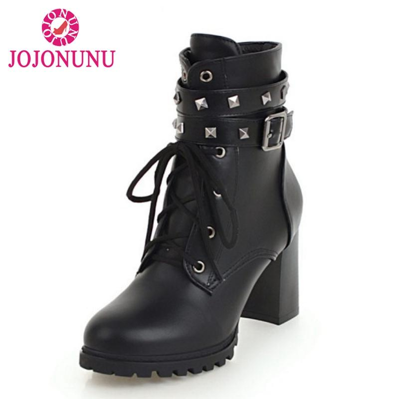 Stiefeletten Pelz Damen Mode Heels Jojonunu Winter Stiefel High Nieten Kurze 32 43 Frauen Kreuzgurt Größe Warme DH9WE2I