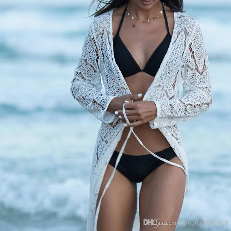 Beach Cover up Femmes Dentelle Crochet Bikini Longue Cover up Pareos Para playa Tuniques pour Beach Robe de Plag Maillot De Bain