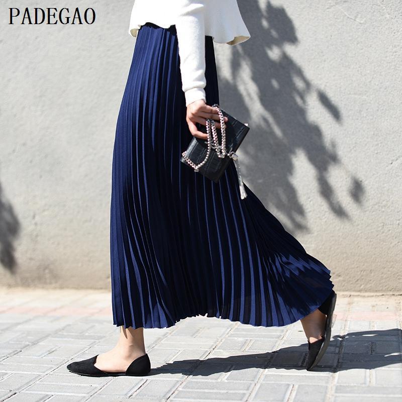 5ab86818a PADEGAO azul marino de cintura alta plisada falda larga sólida una línea  mujeres otoño invierno negro más el tamaño boho ocasional fiesta maxi ...