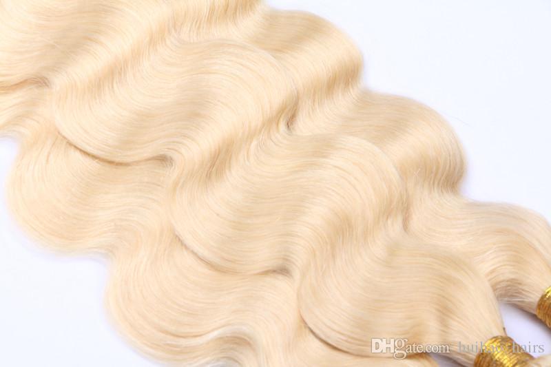 Renk 613 # Bleach Sarışın Avrasya Vücut Dalga Bakire Saç Avrasya İnsan Saç Dokuma Paketler Yumuşak Arapsaçı Ücretsiz Saç Atkılar Bo ...