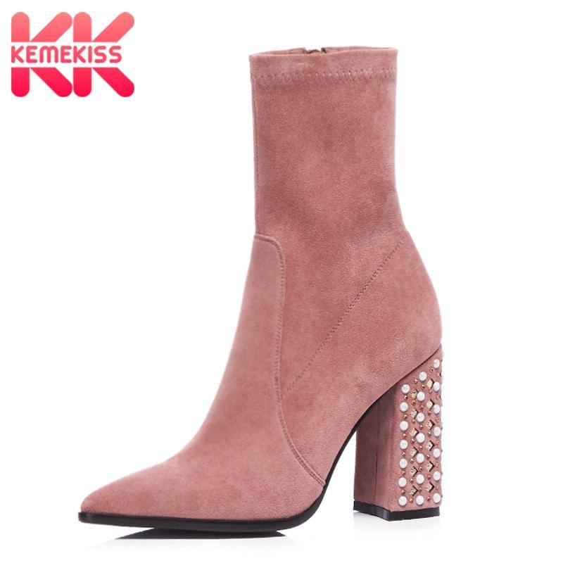 size 40 44180 576a8 KemeKiss 4 Farben Größe 33-43 Frau Winter Schuhe Kurze Stiefel Winter Warme  Schuhe Damen Perlen Starke Ferse Mode Schuhe