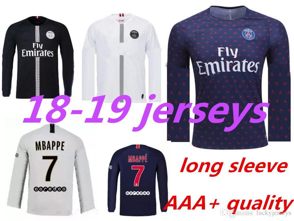 Compre 18 19 PSG Camisola De Futebol De Manga Comprida Paris MBAPPE CAVANI  Camisola De Treino Completo Em Casa 2018 2019 Camisola Da Liga De Campeão  De ... dc44d7cf7efd8