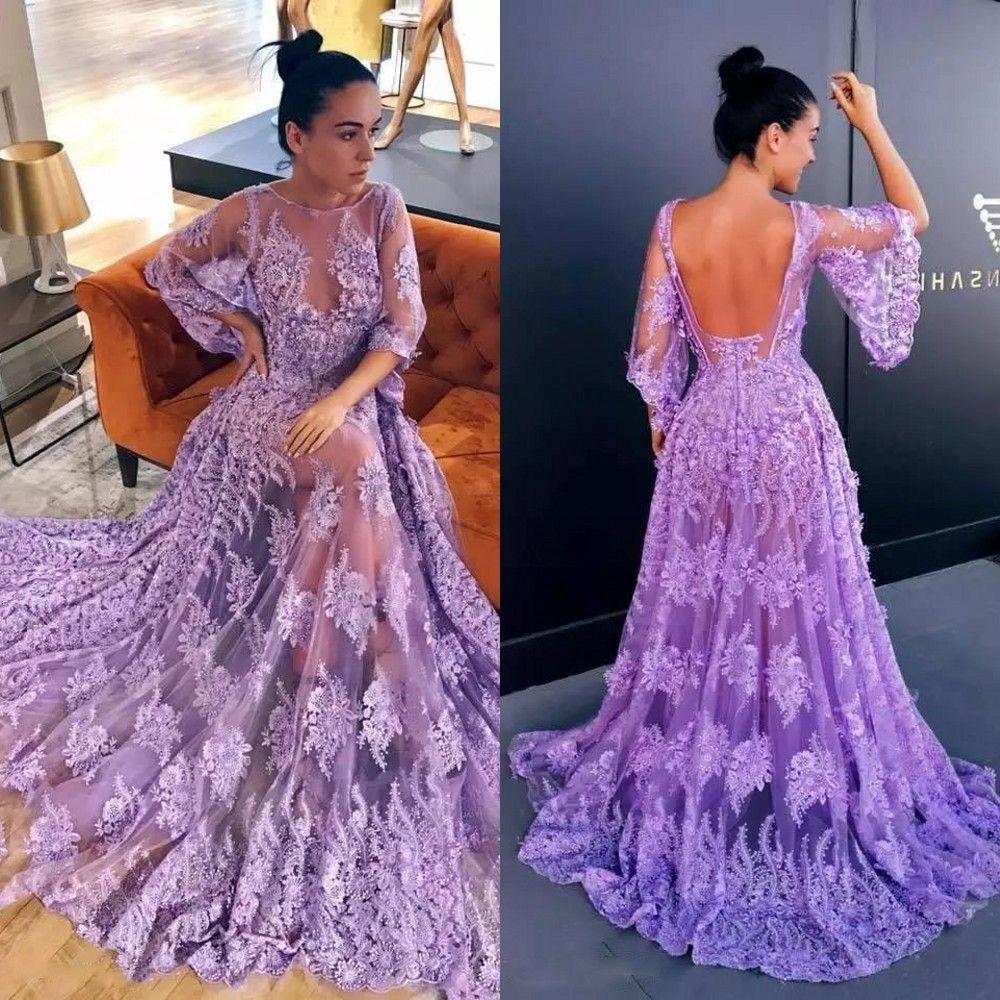 01081cf83687 Acquista Elegante Abito Lungo Lavanda Lavanda Vestito Da Sera Glamour  Appliques 1 2 Maniche A Pois Aperto Indietro Abiti Da Sera 2018 Couture  Vestidos De ...