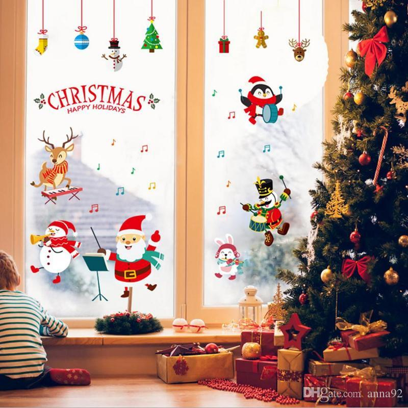 DIY PVC Christmas Wall Stickers Self Adhesive Window New Year Home Decor Decoration For Hot Sale Decorations