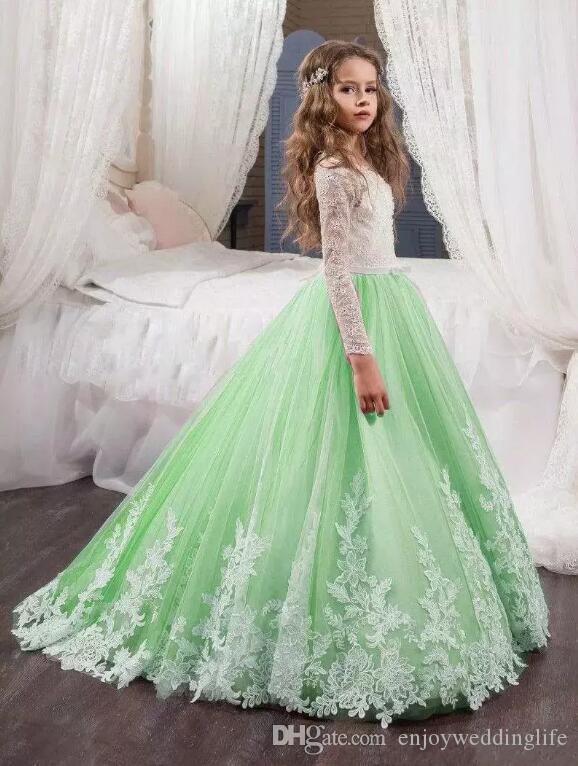 Abiti da bambina a fiori verde menta matrimoni Abiti da sposa a maniche lunghe in pizzo bianco Una linea Abiti da bambina principessa abiti da comunione il compleanno