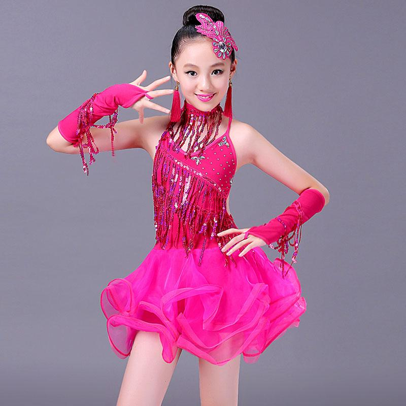 a6bcf3ff652a Girl Latin Dance Dress for Kids Stage Performance Summer Sequins Tassels  Children's Clothes Girls Dress 110-150CM 3 Color