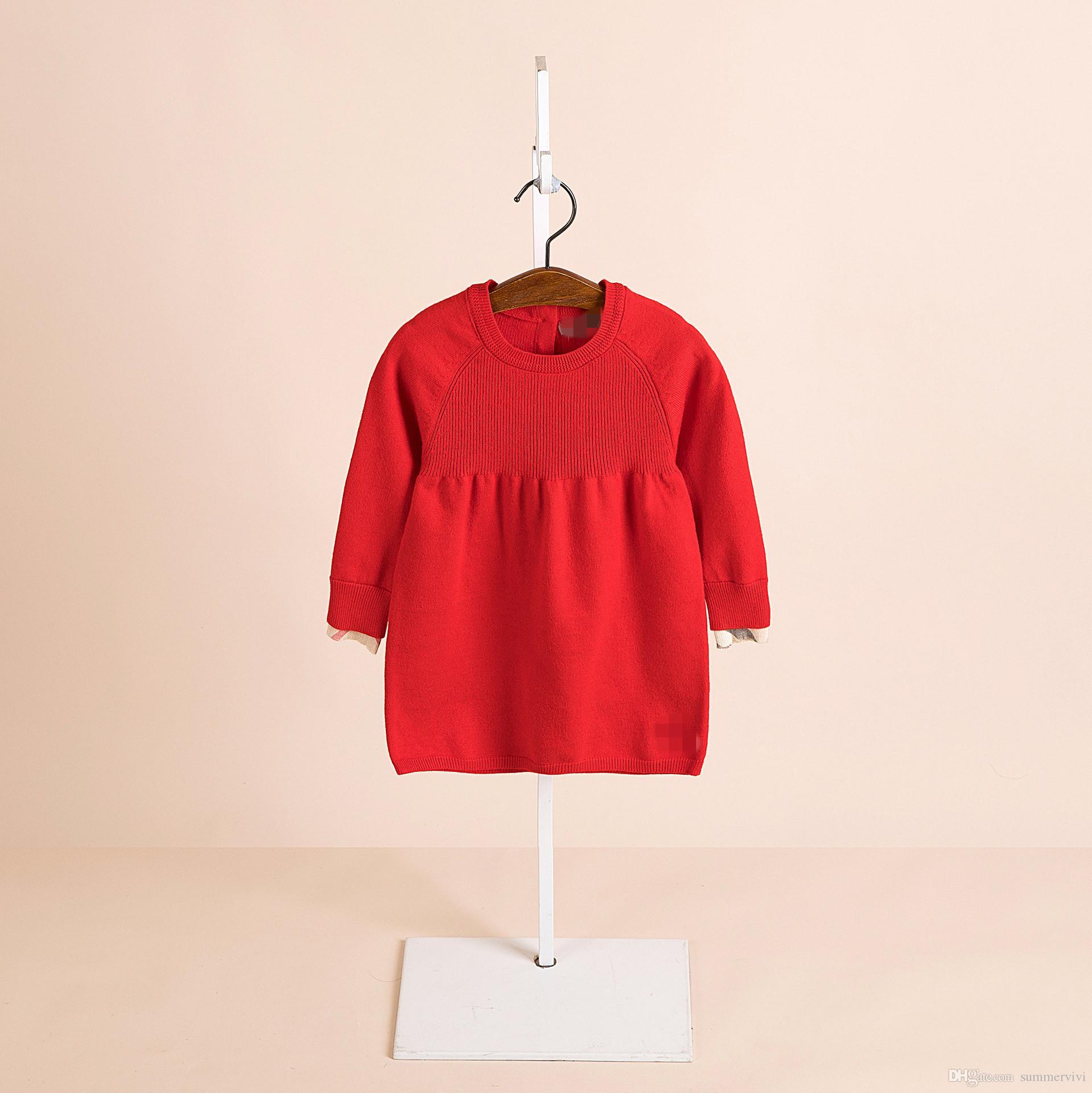 a9d275178 Girls Sweater Dress Kids Round Collar Long Sleeve Knitted Princess ...