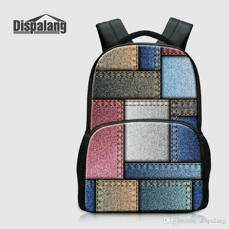 3dcc3821ac2b 17 Inch Women Travel Backpack For Laptop Denim Plaid School Bags For  Teenage Girls Boys Canvas Notebook Computer Men Bagpack College Mochila Travel  Bags ...