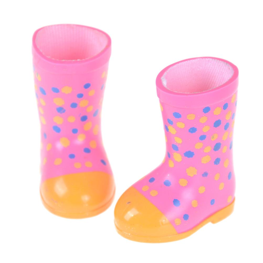One Pair Cartoon Hand Paint Raining Boots Fashion Doll Shoes fit for American doll shoes Girls Kids Gift