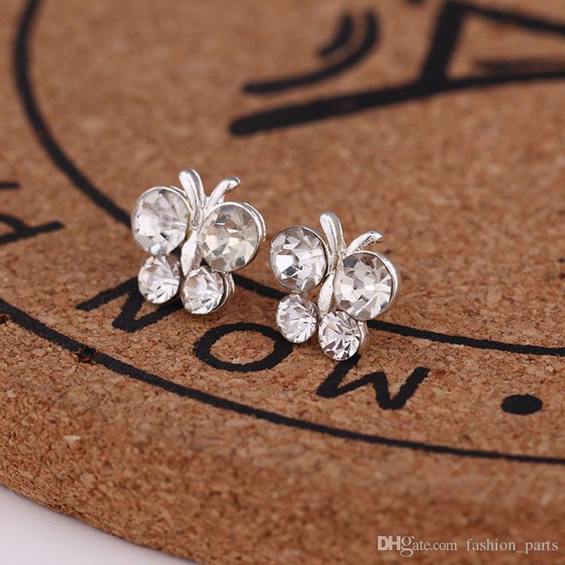 Bijoux en gros chaud meilleurs amis blanc plaqué or boucles d'oreilles grand diamant boucles d'oreilles pour les femmes blanc zircon boucles d'oreilles es / 45 styles